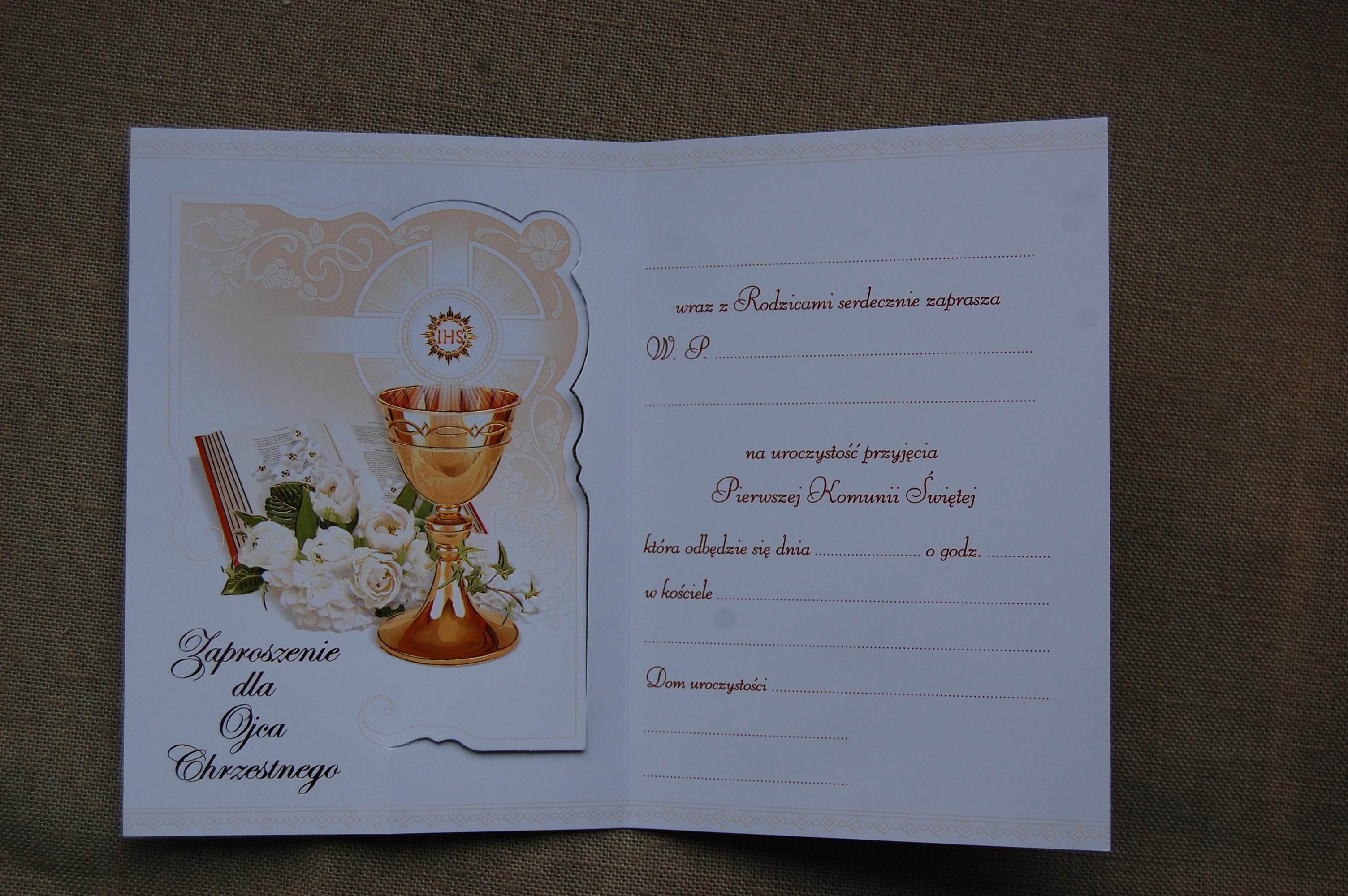 Zaproszenia Na Komunię Chrzestnego Merigraf